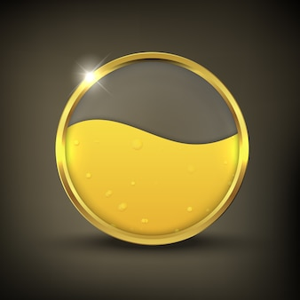 Gold oil button on a black background