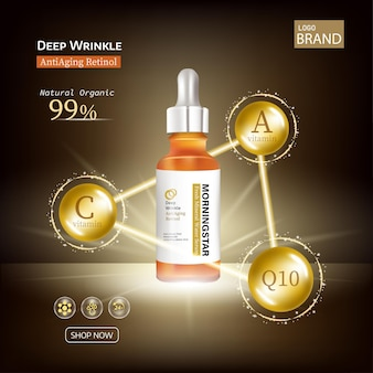 Gold oil serum skincare treatment elements with precious oil coenzyme q10 and cosmetic bottle