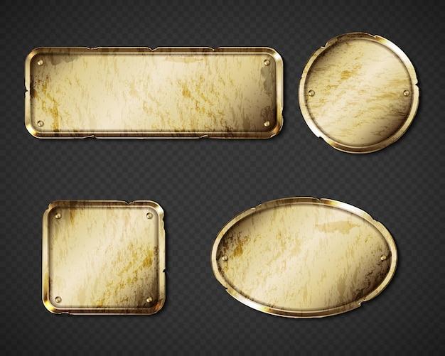 Золотые старинные тарелки и именные таблички