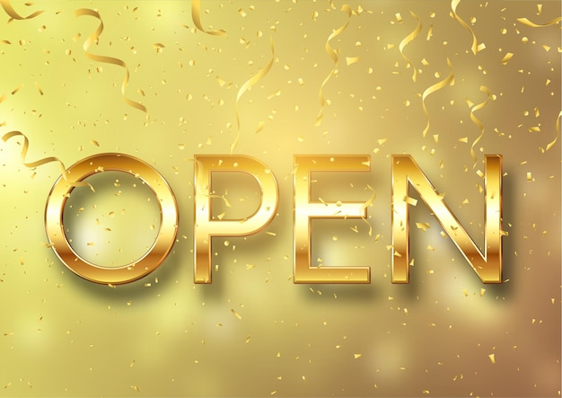 Gold open sign with confetti and streamers