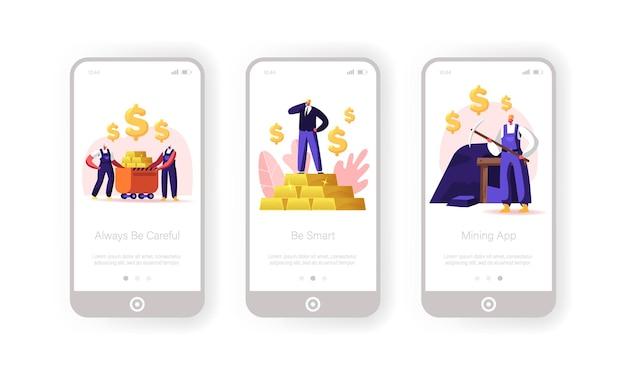 금 또는 석탄 채굴 모바일 앱 페이지 화면 템플릿.
