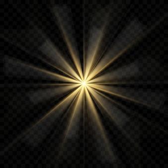 ゴールドまたはホワイトの光る光バースト爆発透明、光線の輝きを備えたクールな効果の装飾のイラスト。輝く星。透明な輝きのグラデーションキラキラ、明るいフレア。