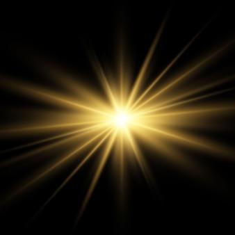 금색 또는 흰색 빛나는 빛 버스트 폭발 투명.