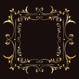Gold ornament frame on blue background  of decorative element frame