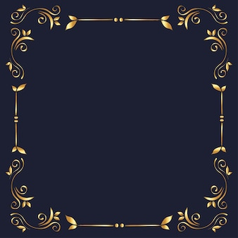 Gold ornament frame on blue background  of decorative element theme