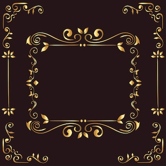Gold ornament frame on brown background  of decorative element theme