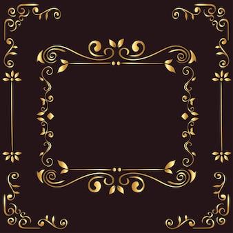 Рамка золотой орнамент на коричневом фоне темы декоративный элемент
