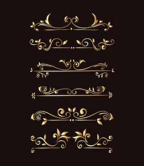 Gold ornament  set on black background  of decorative element theme