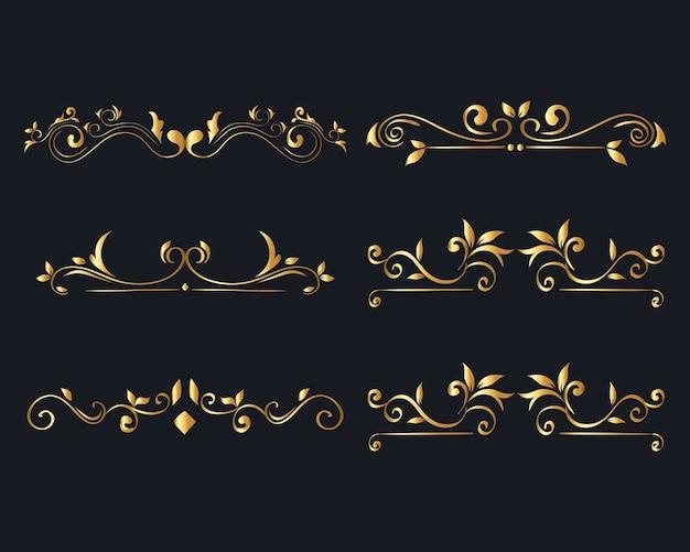 Gold ornament  set on blue background  of decorative element theme