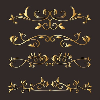 Gold ornament  set on gray background  of decorative element theme