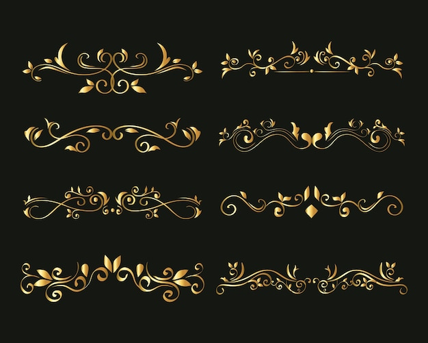 Gold ornament  set on green background  of decorative element theme