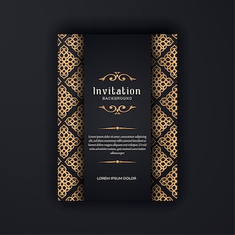 Gold ornamental  wedding invitation template