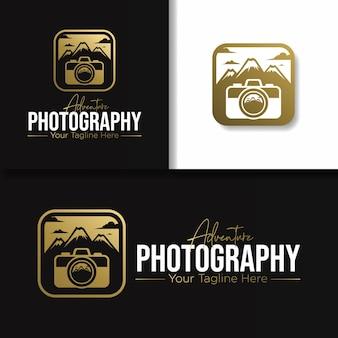 Золотой логотип и значок приключенческой фотографии на открытом воздухе