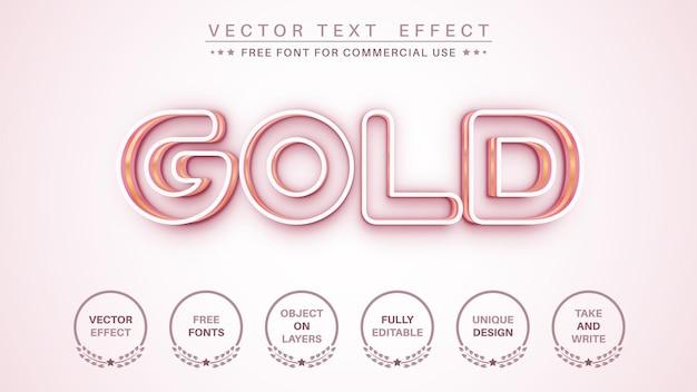ゴールドアウトライン編集テキスト効果編集可能なフォントスタイル