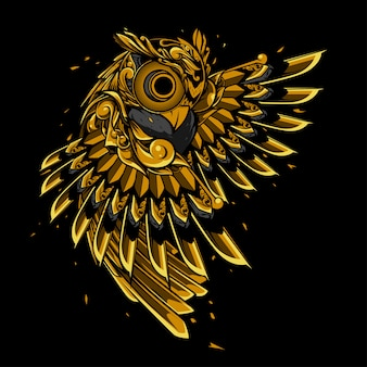 Gold owl doodle ornament illustration, tattoo and tshirt design