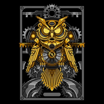 Gold owl steampunk illustration and tshirt design