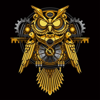 Gold owl steampunk illustration