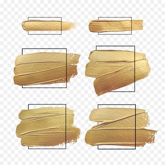 Gold paint brush banner with black frame isolated on white background. design banners