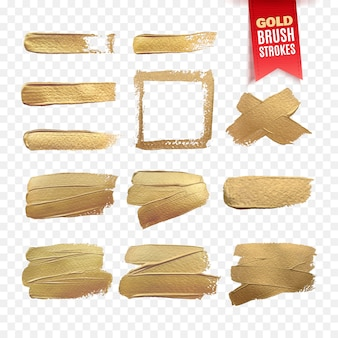 Gold paint brush strokes template isolated on white background.