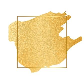 Золотая краска фольги мазок с рамкой