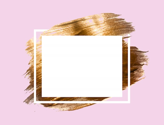 Gold paint glittering textured art frame background.