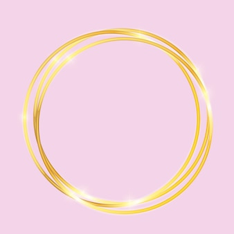 Gold paint glittering textured frame on pink  background