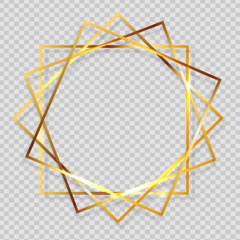 Gold paint glittering textured frame on transparent background