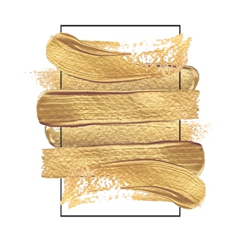 Золотая краска рисованной мазки кистью в прямоугольной рамке черного цвета.