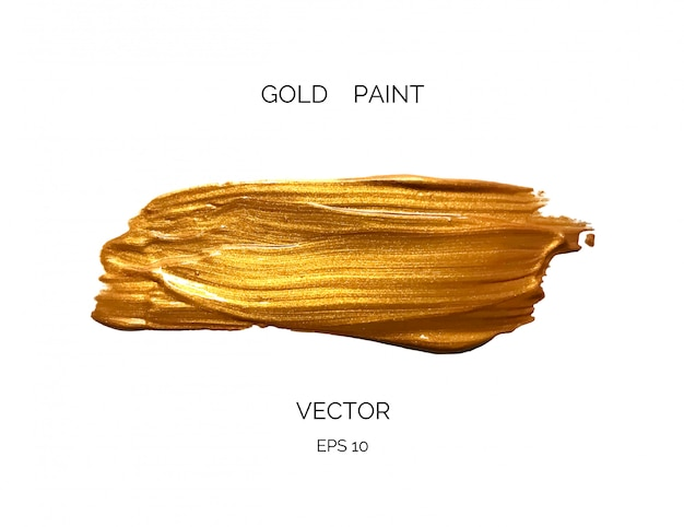 Золотая краска мазок на белом фоне.