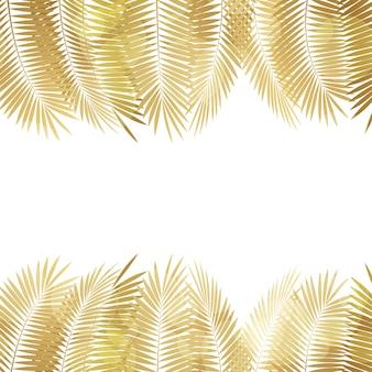 Gold palm leaf background.