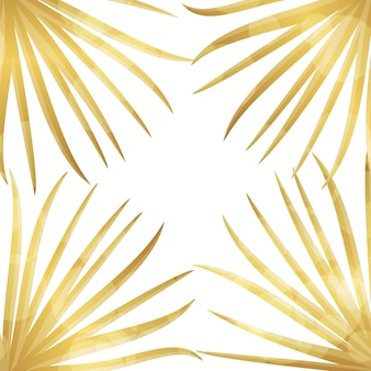 Gold palm leaf background.