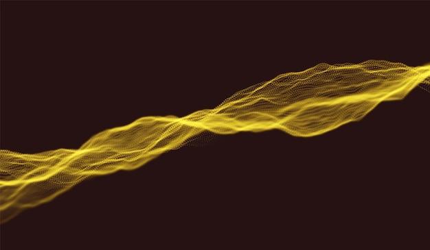 金粒子波動の背景。抽象的な動的メッシュ。ビッグデータテクノロジー。ベクトルグリッドイラスト。