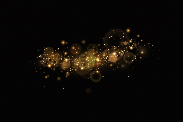 Gold particles light effect gold dust background decoration
