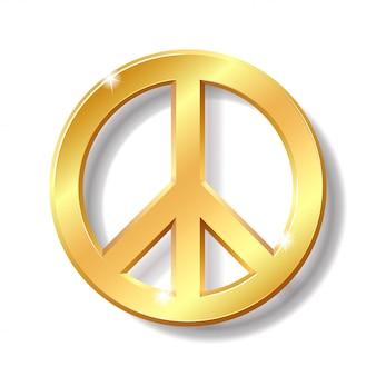 Gold peace symbol  on white background.  illustration