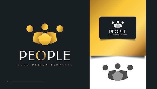ゴールドピープルのロゴデザイン。人、コミュニティ、家族、ネットワーク、クリエイティブハブ、グループ、ソーシャルコネクションのロゴまたはビジネスアイデンティティのアイコン