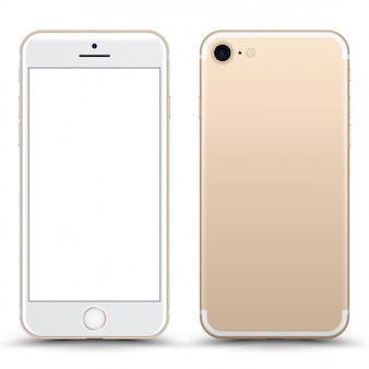 Gold phone  with blank screen isolated.