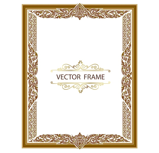 Gold photo frame with border thailand line floral for picture