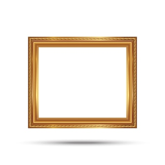 Gold photo frame with corner line floral picture frame isolated on white background.