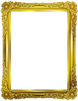 Gold photo frame with corner thailand line art for picture
