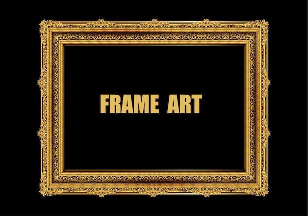 Gold photo frame with corner thailand line floral