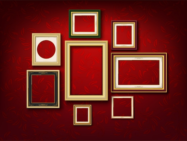 Gold picture frame group on red wall