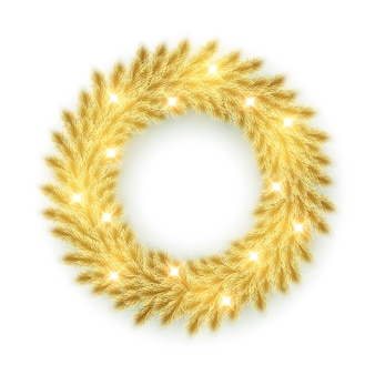 Gold pine branches wreath isolated on white