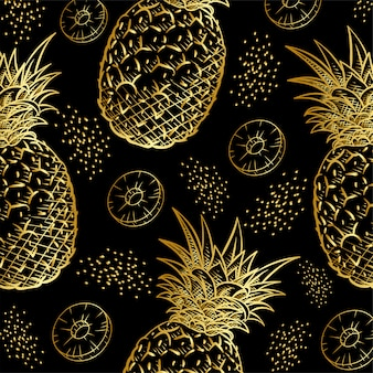Gold pineapple fruits print pattern
