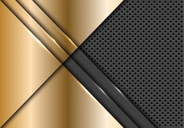 Gold plate overlap on grey metallic circle mesh background.