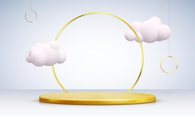 雲で飾られた金の表彰台。黄色の背景に、製品、広告、ショー、授賞式のための現実的な台座シーン。最小限のスタイル。ベクトルイラスト