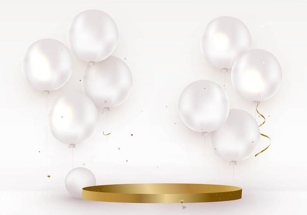 Золотой подиум с гелиевыми шарами