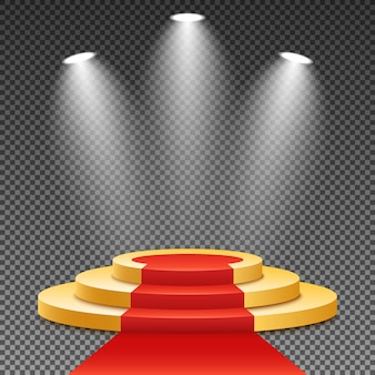 Gold podium with a red carpet. bright white light from searchlights. gold pedestal.
