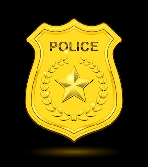 Gold police badge isolated