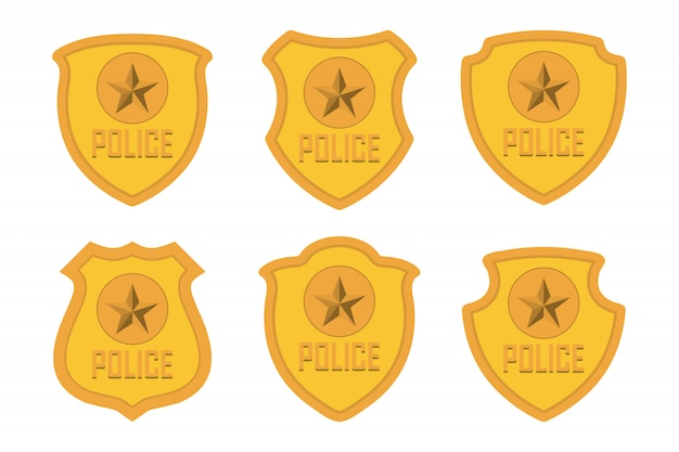 Gold police badge set isolated