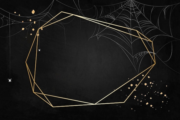 蜘蛛の巣の黒い背景の上の金のポリゴンフレーム